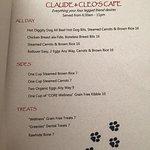 Dog room service menu