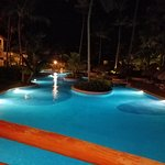 Giant pool at night.