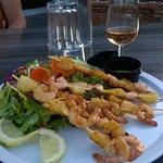 les brochettes aux crevettes....