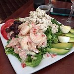 Combination shrimp and chicken salad lunch