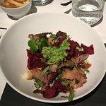Salmon salad/main course/pomelo desert