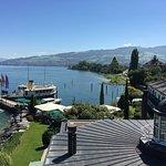 Aussicht vom Zimmer auf See und Anleger der MS EMILY
