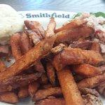 Ham Salad, sweet potato fries and ham biscuit...MMmmmmm!