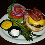 Bacon Cheeseburger with grilled asparagus