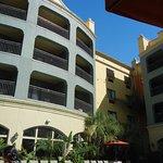 balconies facing pool