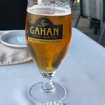 Gahan honey wheat beer. Starter was lobster stuffed mushrooms and our main dish was seafood ling