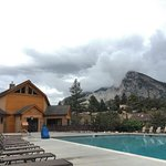 A view over the pool house, where the spa and sauna are. Mount Princeton in the distance