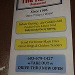 Their menu with phone number