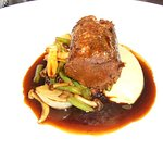 Beef bourguignon was cooked to perfection, served on a bed of mash with veg and jus.