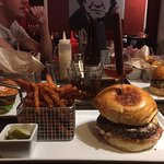 Bacon & Cheese burger with sweet potato fries.