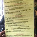 Smoothie menu, and food menu with seating area!