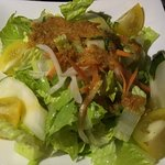 Ginger dressing on salad.