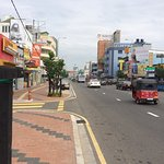 In opposite directions & within easy walking distance of the hotel. Busy Galle Road & similarly