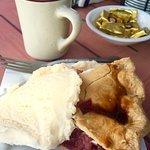Rhubarb Peach Pie and Coffee