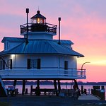 Sunrise behind Hoopers Strait Lighthouse, Chesapeake Bay Maritime Museum, St. Michaels, MD