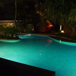 Night time pool view from ground flloor