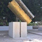 By Dani Karavan - a Bronze Torah split apart on Stone Blocks ..