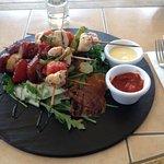 INSALATA DI PROSCIUTTO - Pear, Prosciutto & Rocket Lettuce with Chorizo and chicken skewers