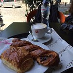 cappucino, pain au chocolate and awful chocolate pastry