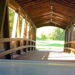 You have to go though the covered bridge.