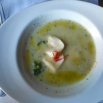 Chilled cucumber soup with lime cured scallops and Thai peppers