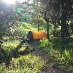 We had two tents. This pup tent was tucked back from the road.