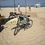 A bike carrying a surf board in Leblon