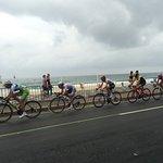 A view of the olympic bike race in front of Leblon Beach