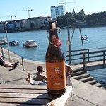 A nice beer in the Buvette Dreirosen after Rhein swimming