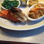 Stuffed Lobster tail, Spinach, Thre stuffed Shrimp