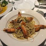 Pasta with prawns and the most delicious garlic and chilli sauce.