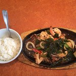 Seafood Sizzling Plate with white rice.