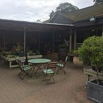 Outside seating on garden centre side of cafe