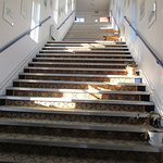 Steep staircase to navigate to rooms