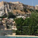 roof top pool swimming below the Acropolis