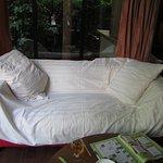 systeme D pour couvir les taches présentes sur le canapé afin de pouvoir s'assoir tranquille !!