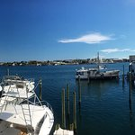 Lunch Menu (excluding Daily Specials).  Panorama of Destin Harbor from the deck at Harbor Docks.