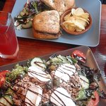 Roast beef focaccia and tuna salad with mozzarella
