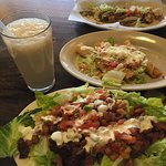 Tortilla Salad with Steak and tequila lime dressing, flautas, tacos, and horchata
