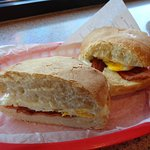 Bacon, Egg and Cheese on a bakery roll