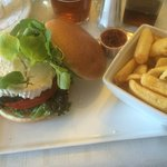 Lamb burger with a generous round of goat's cheese