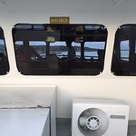 Looking through the pilot house, heading up river, from deck 4.