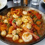 Paella with chorizo, chicken and shrimp
