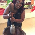 I loved the authenticity of this place. This is an orginal cocoa grinder and it's stick used.