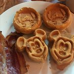 Mickey and Stitch Waffles with bacon. Yummy!