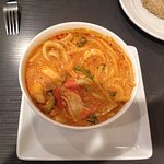 Red curry sauce with seafood. $13.95 Good.