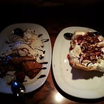 Tortilla sundae (right) and fried cheesecake (left).