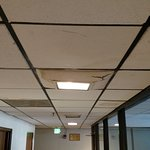 sagging ceiling tile in same square as light fixture