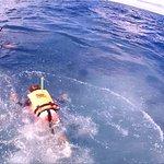 Mi esposa y mi hijo en su encuentro con el tiburón ballena.