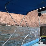 Looking out through La Paz super panga with canopy up for sun protection